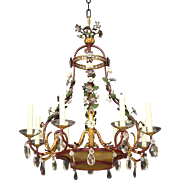 Iron And Crystal Chandelier With Amber Glass And Porcelain Flowers Circa 1930