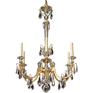 "Gilded bronze and cut crystal chandelier by ""Osler"""