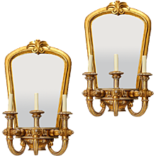 ART DECO Giltwood and gesso three light Art Deco mirrored back sconces, Italy circa 1930.