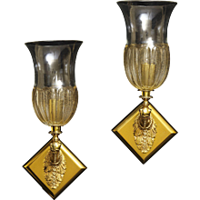 Pair of Gilt Bronze One Light Figural Sconces Of Dog Heads Supporting A Venetian Glass Hurricane Shade, All Mounted On A Triangular Back Plate, France 19th Century
