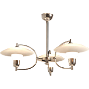 Etched Glass & Nickeled Brass Chandelier by Voss