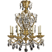 Gilt Bronze & Crystal Chandelier by Jansen