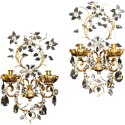 "Gilt bronze and crystal two light sconces by ""Jansen"" France, circa 1940"
