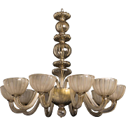 Amber Colored Chandelier by Venini