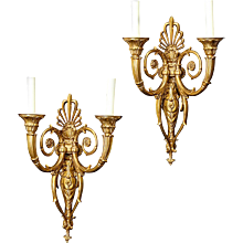 Empire Style gilt bronze two light sconces