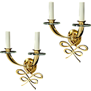 LELEU bronze and crystal two light sconces in a calligraphic motif