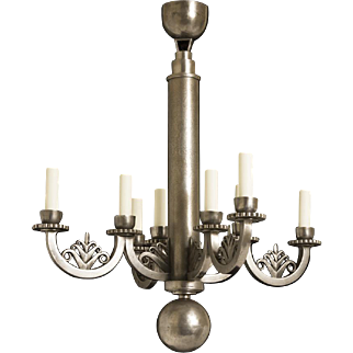 "Hand Forged Wrought Iron Eight Light Art Deco Chandelier With A Stylized Foliate Motif, Signed ""E.BRANDT"""