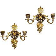 Second Empire exceptional black and gilt bronze two light sconces with foliage and berry motif, France, 19th century