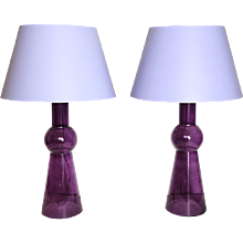 Pair of Art Moderne style mouve color glass two light lamp