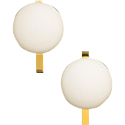 Mid 20th Century Frosted Glass And Brass Sconces By ANGELO LELII