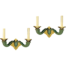 Pair of painted brass two-light sconces