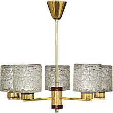 Brass and glass chandelier by Orrefors, Sweden, mid-20th century