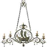 "Painted iron ""Ship"" motif chandelier"