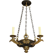 Empire black and gilt three light chandelier, France, circa 1850