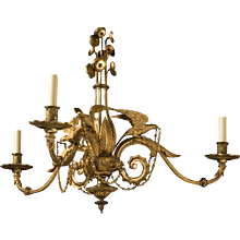 "Victorian gilt bronze three light chandelier with ""Parrot"" motif, England, circa 1850"