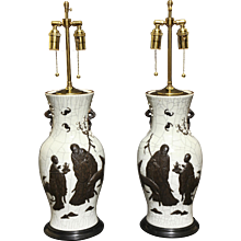 Pair of Chinese porcelain decorated vases, circa late 19th century