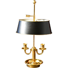 "Gilded bronze two light ""bouillotte"", Square Arm"