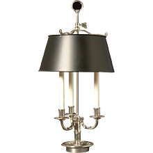 Silvered bronze three light bouillotte with tole shade. Lead time 14-16 weeks.
