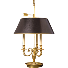 Gilded bronze three light bouillotte with female heads. Lead time 14 - 16 weeks.