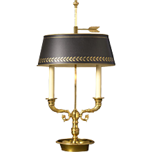 Gilded bronze two light bouillotte with cornucopia arms. Lead time 14-16 weeks.