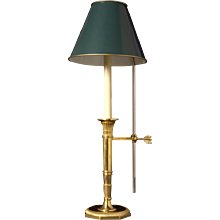 Gilded bronze one light candlestick bouillotte. Lead time 14-16 weeks.