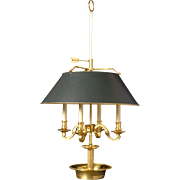 Gilded bronze four light bouillotte with square arm and round base.Lead time 14-16 weeks.