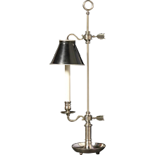 The silvered bronze one light bouillotte with painted tole shade. Lead time 14-16 weeks.