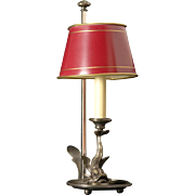 Gilded bronze one light DOLPHIN bouillotte with painted tole shade. Lead time 14-16 weeks.