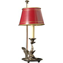 Oil rubbed bronze DOLPHIN bouillotte with red painted tole shade. Lead Time 14-16 weeks.