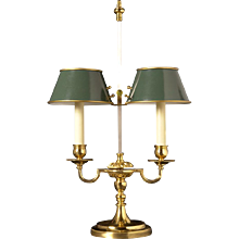 Gilded bronze two light bouillotte with painted tole shades. Lead time 14-16 weeks.