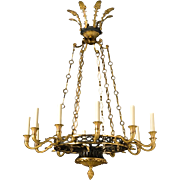 EMPIRE Style gilt and gunmetal bronze twelve light chandelier