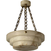 Carved stepped alabaster pendant with matching alabaster canopy