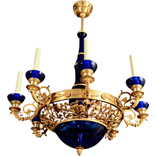 Gilded bronze and Cobalt glass eight light Russian Chandelier with foliate design. Lead time 14-16 weeks.