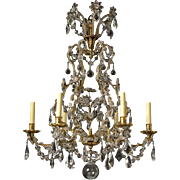 GENOESE Style gilded iron and beaded crystal six light chandelier