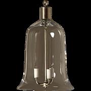 Clear crystal bell shaped three light lantern.
