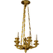 EMPIRE Style gilded bronze five light chandelier