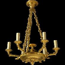 EMPIRE Style gilded bronze six light chandelier