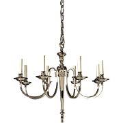 ADAM Style silvered bronze eight light chandelier