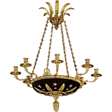 EMPIRE Style gilt bronze and painted tole eight light chandelier