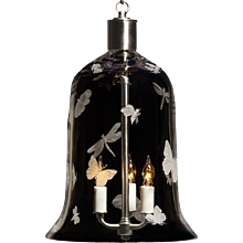 """FLUTTER"" crystal bell shaped three light lantern."