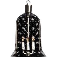 """AMERICANA"" crystal bell shaped three light lantern."
