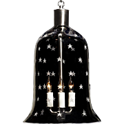 """STARS"" crystal bell shaped three light lantern."