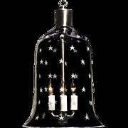 """STARS"" crystal bell shaped three light lantern."