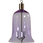 Mauve colored crystal bell shaped three light lantern