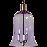 Mauve colored crystal bell shaped three light lantern