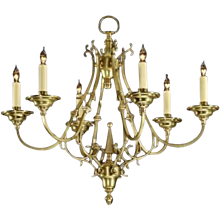 DUTCH Style six light brass chandelier.Can be custom finish. Lead time 14-16 weeks.