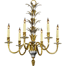 """""""PALM"""" Motif silver and gilt gilded bronze six light chandelier.Can be custom finish. Lead time 14-16 weeks."""
