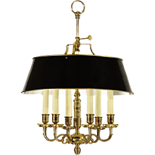 Gilded bronze six light chandelier with painted black tole shade. Lead time  14-16 weeks.