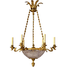 EMPIRE Style cut crystal and gilded bronze chandelier.Lead time 14-16 weeks.