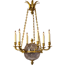 EMPIRE Style cut crystal and gilded bronze six light chandelier. Lead time 14-16 weeks.